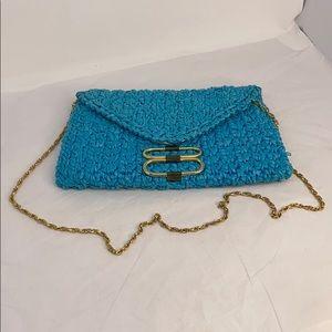 Vintage RODO Italian Teal Blue Knit Straw Handbag